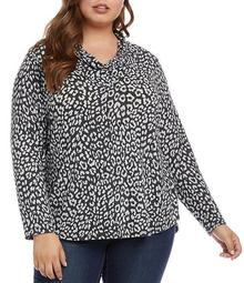 Plus Size Cowl Neck Cheetah Print Sweater