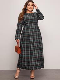 Plus Fold Pleated Detail Scallop Edge Tartan Dress