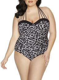 100 Degrees Women's Plus-Size Maillot Tie-Neck One-piece Swimsuit