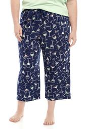 Plus Size Printed Capri Sleep Pants