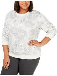 Karen Scott Sports Womens Plus Crewneck Printed Sweatshirt