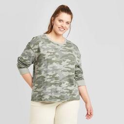 Women's Plus Size Camo Print Crewneck Sweatshirt - Universal Thread™ Green