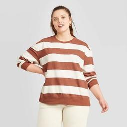 Women's Plus Size Striped Crewneck Sweatshirt - Universal Thread™ Brown