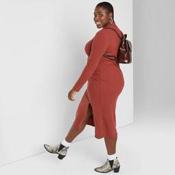 Women's Plus Size Long Sleeve Mock Turtleneck Rib Knit Midi Dress - Wild Fable™ Rust