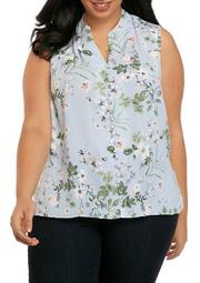 Plus Size Button Front Sleeveless Top