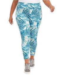 Plus Size Tropical Print Pull-On Leggings, Created For Macy's