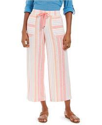 Plus Size Multi-Stripe Linen Pants, Created For Macy's