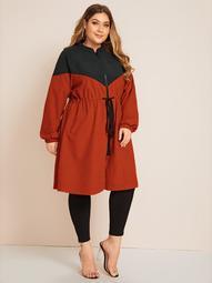 Plus Drawstring Waist Raglan Sleeve Color Block Coat