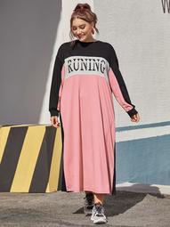 Plus Letter Graphic Colorblock Sweatshirt Dress