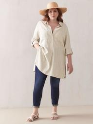Pop-Over Linen Tunic Blouse - Addition Elle