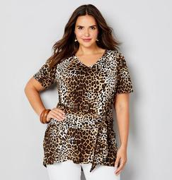 Leopard Print Belted Tunic