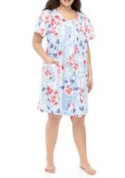 Plus Size Printed Sateen Short Robe