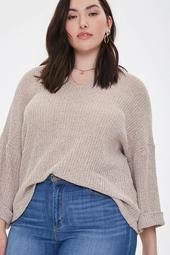 Plus Size Ribbed Marled Knit Top