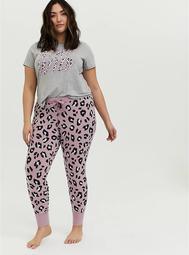 Lilac Pink Leopard Drawstring Sleep Pant