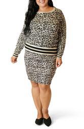 Leopard Print Sweater & Skirt Set