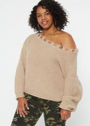 Plus Tan Distressed Slouchy Sweater