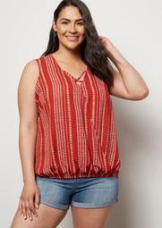 Plus Burnt Orange Border Print X Front Surplice Tank Top