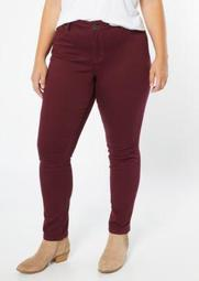 Plus YMI Wanna Betta Butt Burgundy Skinny Jeans