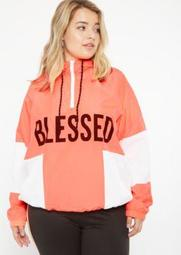 Plus Neon Coral Colorblock Blessed Graphic Windbreaker