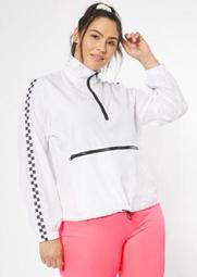 Plus White Checkered Print Side Striped Windbreaker