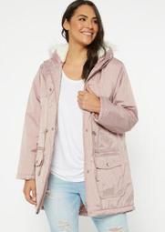 Plus Pink Nylon Fur Lined Anorak Coat