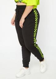 Plus Neon Yellow Checkered Print Joggers