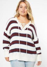Plus White Striped Drop Sleeve Lace Up V Neck Sweater