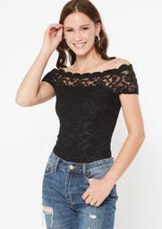 Black Scallop Lace Off The Shoulder Bodysuit
