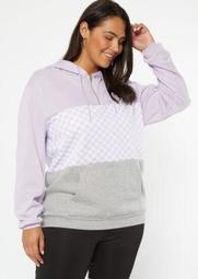 Plus Lavender Colorblock Checkered Print Hoodie