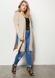 Plus Tan Ribbed Knit Side Slit Long Length Cardigan