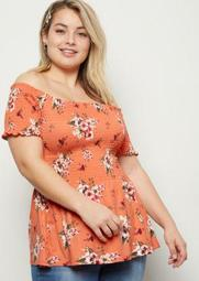 Plus Coral Floral Print Super Soft Babydoll Top