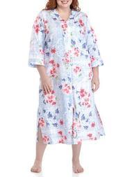 Plus Size Printed Sateen Long Zip Robe