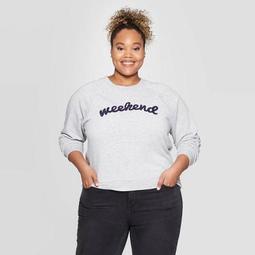 Women's Weekend Plus Size Graphic Sweatshirt - Grayson Threads (Juniors') - Athletic Heather