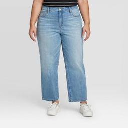 Women's Plus Size High-Rise Straight Leg Jeans - Ava & Viv™ Medium Wash