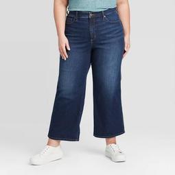 Women's Plus Size High-Rise Wide Leg Cropped Jeans - Ava & Viv™ Indigo