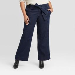 Women's Plus Size Belted Denim Wide Leg Pants - A New Day™ Dark Wash