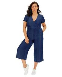 Soft Tencel Denim Wrap Jumpsuit