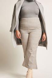 Plus Size Plaid High-Rise Flare Pants