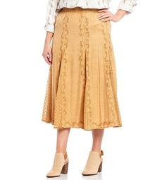 Plus Size Smocked Waist Soutache Lace Godet Detail Skirt