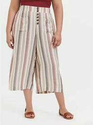 Multi Stripe Twill Button Culotte Pant