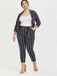 Dark Slate Grey Multi Stripe Crepe Tie Front Tapered Pant