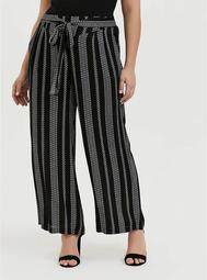 Wide Leg Tie Front Crinkle Gauze Pant - Black Diamond Stripe