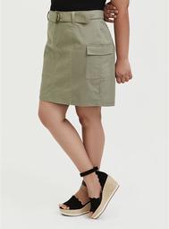 Light Olive Green Twill Cargo Mini Skirt