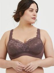 Light Raisin Brown Lace Maximum Support Full Coverage Lightly Lined Bra