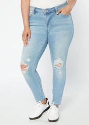 Plus High Waisted Light Wash Ripped Knee Jeggings