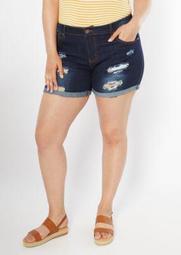 Plus Dark Wash Distressed Roll Cuff Jean Shorts