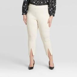Women's Plus Size Mid-Rise Pull-On Split Front Skinny Pants - Who What Wear™