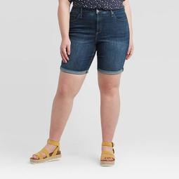 Women's Plus Size Mid-Rise Bermuda Jean Shorts - Universal Thread™