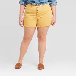 Women's Plus Size High-Rise Jean Shorts - Universal Thread™ Gold
