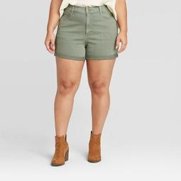 Women's Plus Size High-Rise Jean Shorts - Universal Thread™ Olive